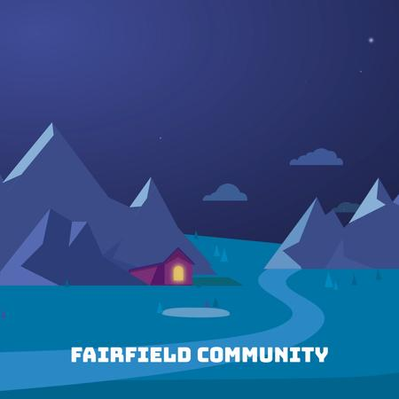Cabin between mountains at night Animated Post Design Template