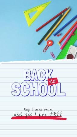 Back to School Sale Stationery in Backpack Instagram Video Story – шаблон для дизайна