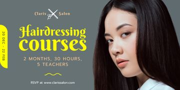 Hairdressing Courses Ad with Woman with Brunette Hair