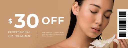 Spa Treatment Offer With Woman Holding Flower Coupons