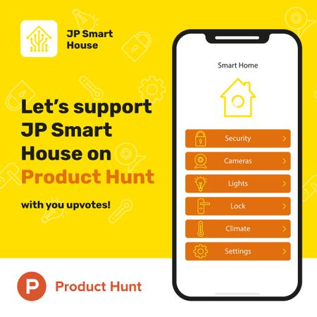 Product Hunt Launch Ad Smart Home App on Screen Instagram – шаблон для дизайна