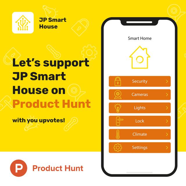 Product Hunt Launch Ad Smart Home App on Screen Instagram Modelo de Design