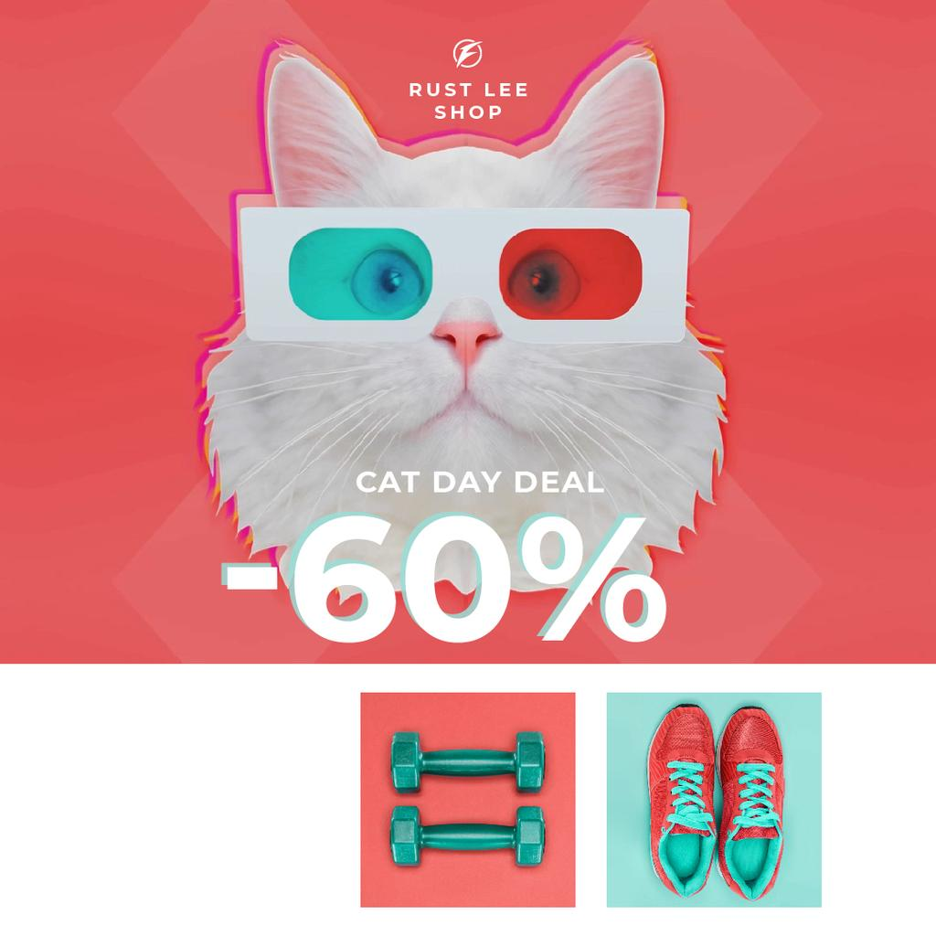 Funny Cat in 3D Glasses and Sports Equipment on Cat Day — Modelo de projeto