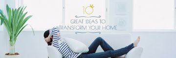 Real Estate Ad Woman Resting on Sofa | Email Header Template