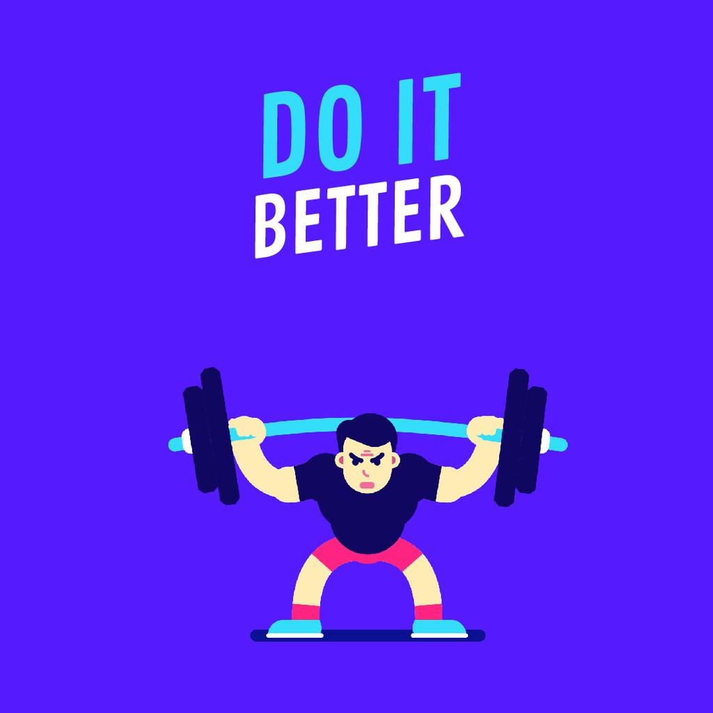 Sport Motivation Man Lifting Barbell in Blue | Square Video Template — Crear un diseño