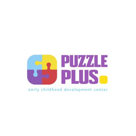 Designvorlage Education Concept with Puzzle Pieces Icon für Animated Logo