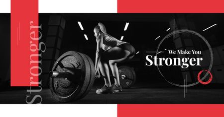 Gym Offer Woman Lifting Barbell Facebook ADデザインテンプレート
