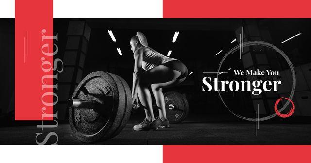 Gym Offer Woman Lifting Barbell Facebook AD Modelo de Design