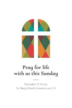 Invitation to Pray with Church Windows Pinterest Design Template