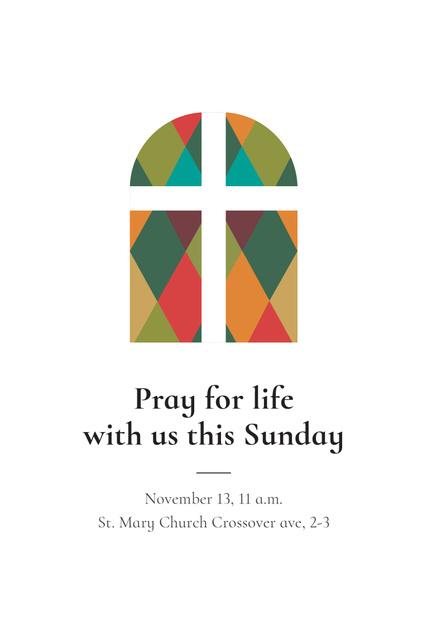 Invitation to Pray with Church Windows Pinterest Tasarım Şablonu
