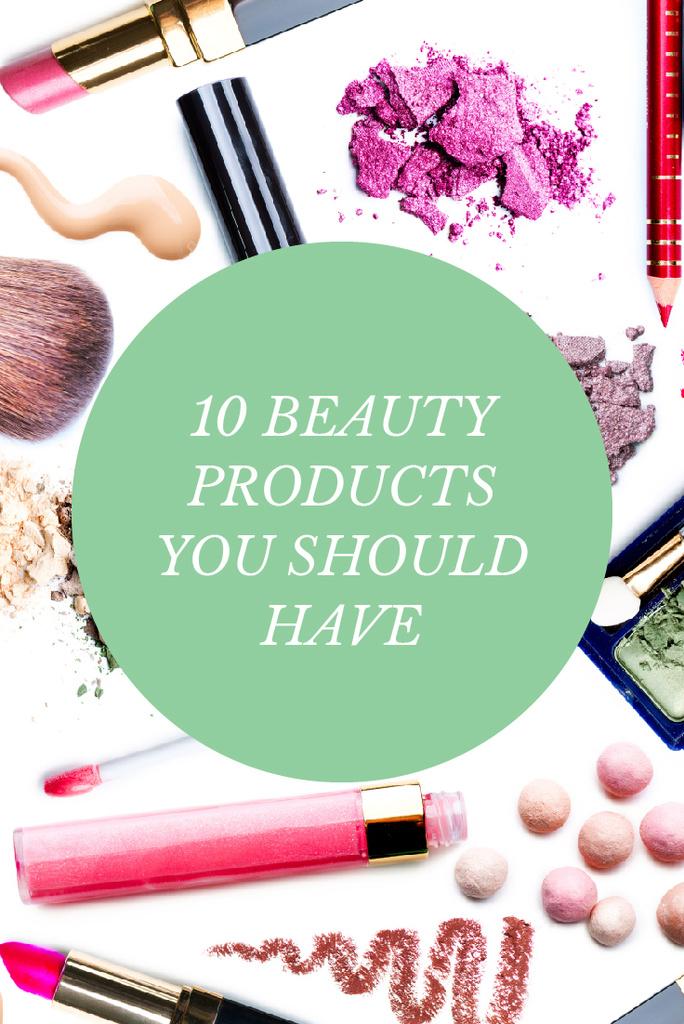 Makeup Ad with Cosmetics Set and Brushes — Crea un design