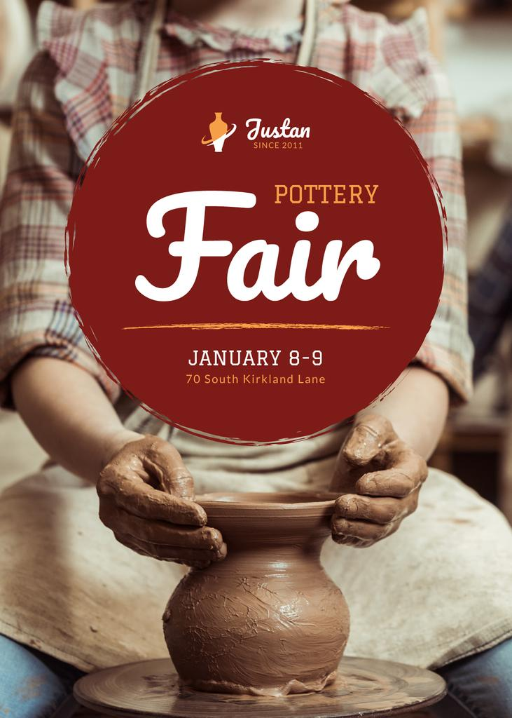 Pottery Fair Man Creating Jar — Crear un diseño