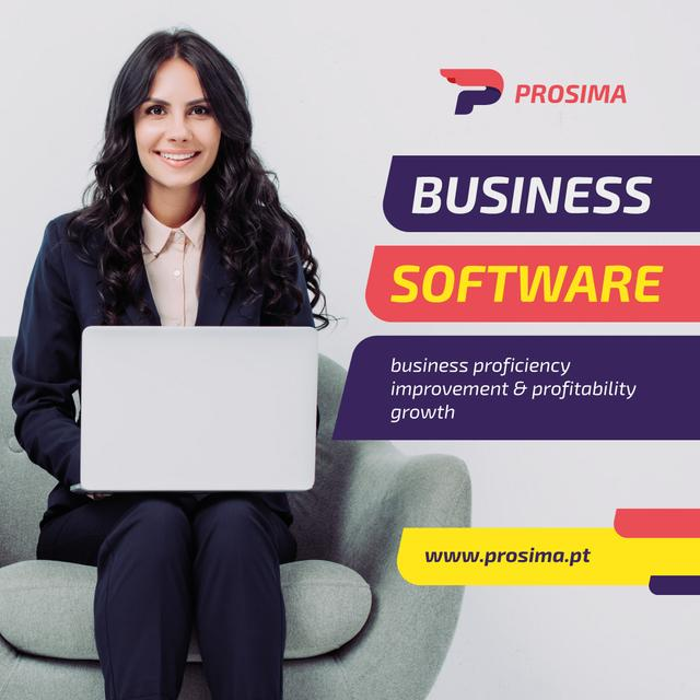 Template di design Software Ad Woman Working on Laptop Instagram AD