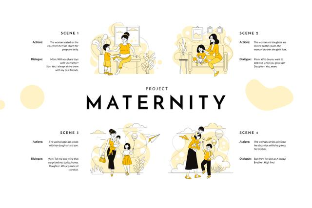Plantilla de diseño de Illustration of Mother raising Children Storyboard