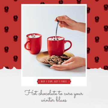 Christmas Offer Hands with Cup and Gingerbread | Square Video Template