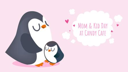 Plantilla de diseño de Mother's Day Offer with Penguin Hugging Its Mom Full HD video