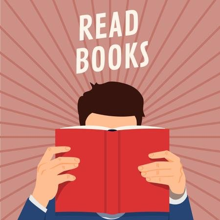 Books Inspiration with Man reading Red Book Animated Post Modelo de Design
