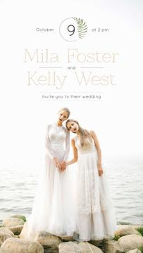 Wedding Invitation Brides in White Dresses at Seacoast