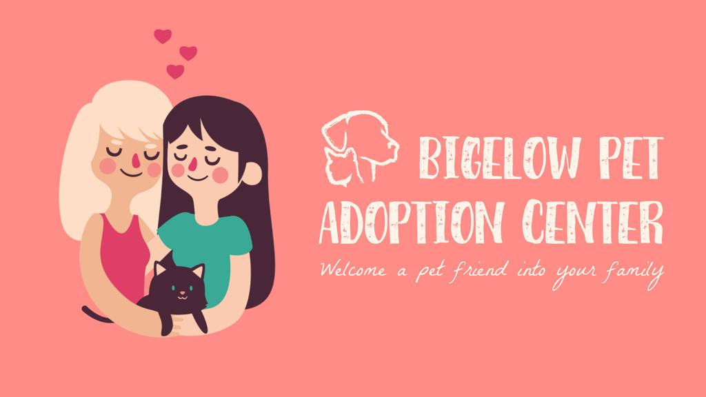 Pet Adoption Ad Two Girls Hugging Cat — Crear un diseño
