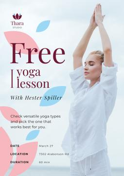 Lesson Offer Woman Practicing Yoga
