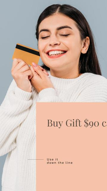 Gift Card Offer with Smiling Woman Instagram Story – шаблон для дизайну