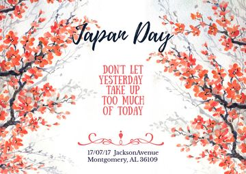 Japan day invitation with Sakuras