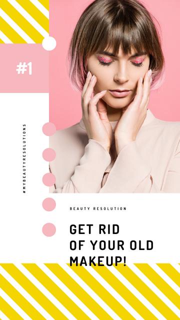Plantilla de diseño de Cosmetics Sale Woman with Creative Makeup Instagram Video Story