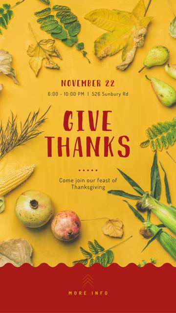 Thanksgiving feast concept on Yellow Instagram Story Tasarım Şablonu