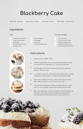 Designvorlage Confectionery Cake with raw Berries für Recipe Card