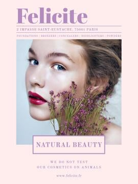 Natural cosmetics ad with Woman holding flowers