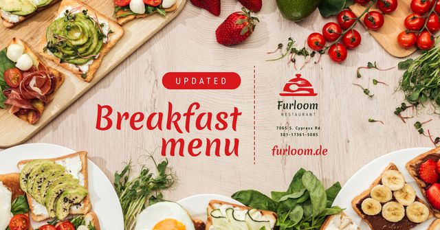 Modèle de visuel Breakfast Menu Fresh Ingredients for Cooking - Facebook AD