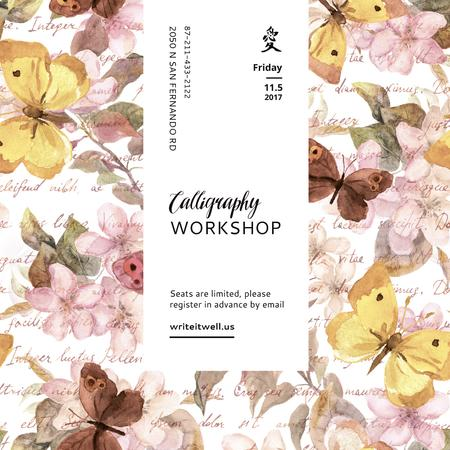 Calligraphy Workshop Announcement Watercolor Flowers Instagram AD Modelo de Design