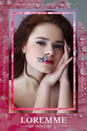 Beauty Salon ad with young Woman Tumblr Tasarım Şablonu