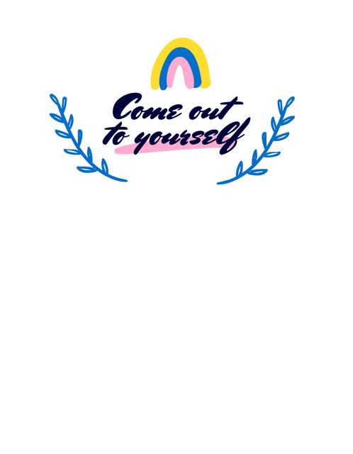 Ontwerpsjabloon van T-Shirt van Inspirational Phrase with Cute Rainbow