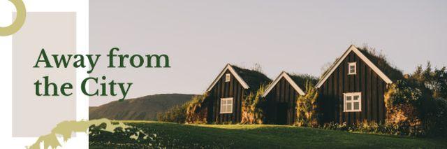 Plantilla de diseño de Small Cabins in Country Landscape Email header