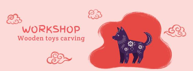 Toys Carving Workshop Dog and Pig Figures Facebook Video cover – шаблон для дизайну