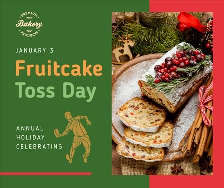 Sweet dessert for Fruitcake Toss Day Facebook Design Template