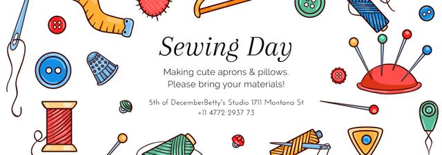 Sewing day event with needlework tools Tumblr Design Template