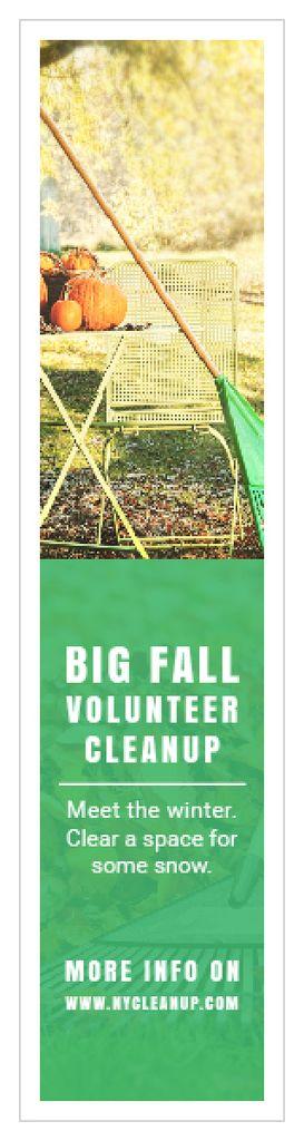 Volunteer Cleanup Announcement Autumn Garden with Pumpkins — ein Design erstellen