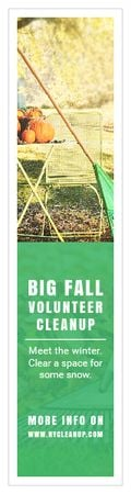 Volunteer Cleanup Announcement Autumn Garden with Pumpkins Skyscraperデザインテンプレート