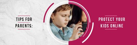 Online Safety Tips with Kid Using Smartphone Email header Modelo de Design