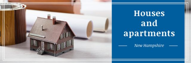 Architectural Prints and House Model on Table Email headerデザインテンプレート