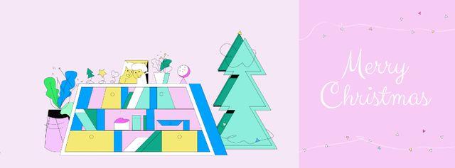 Ontwerpsjabloon van Facebook Video cover van Girl with Christmas gift