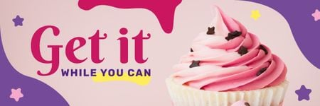 Motivational Quote with Sweet Pink Cupcake Email header Tasarım Şablonu