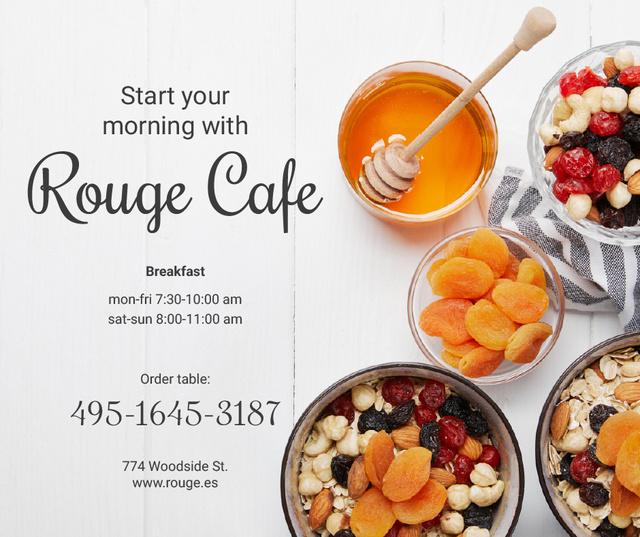 Plantilla de diseño de Breakfast Offer Honey and Dried Fruits Granola Facebook