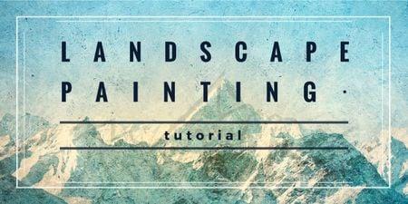 landscape painting tutorial banner Image Modelo de Design