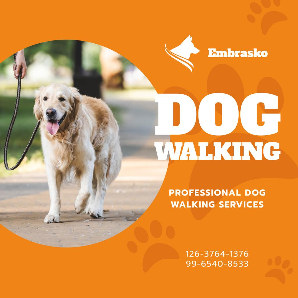 Dog Walking Services Man with Golden Retriever - Bir Tasarım Oluşturun