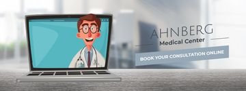Doctor speaking on laptop screen