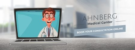 Doctor speaking on laptop screen Facebook Video cover Modelo de Design