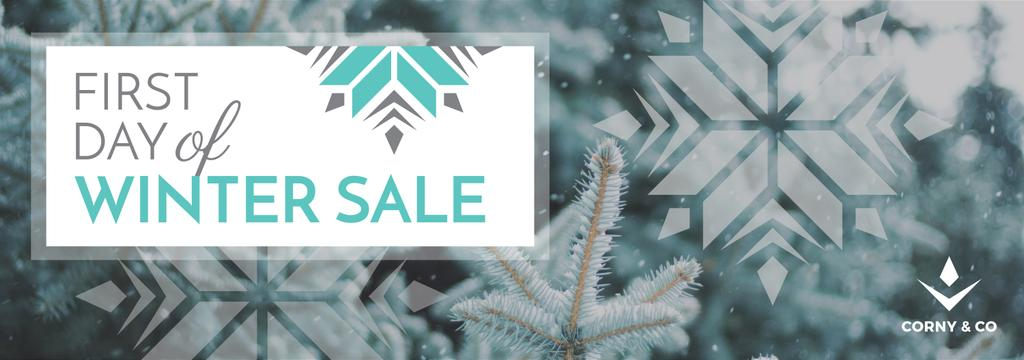 First day of Winter sale with frozen fir — Створити дизайн